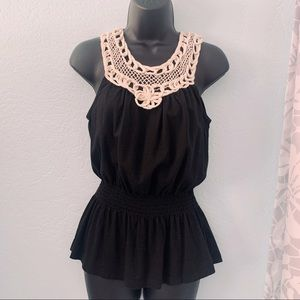Forever21 Smocked Waist Crochet Top Size Small